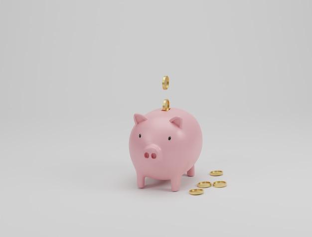 ピンクの貯金箱と白い背景の上の黄金のコイン。お金の節約の概念。 3dレンダリング。 Premium写真