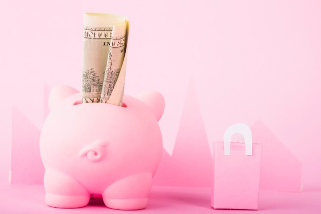Pink piggy bank with money and paper bag Free Photo