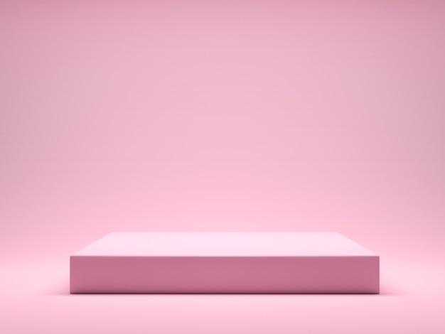제품 디스플레이 인테리어 연단 장소를위한 핑크 플랫폼. 핑크 파스텔 배경에 제품 디자인을 홍보하십시오. 3d 렌더링 프리미엄 사진