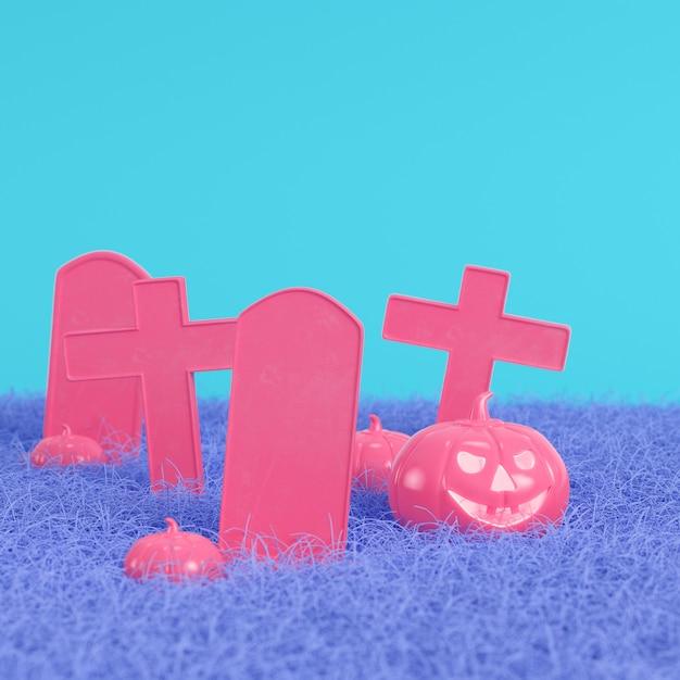 パステルカラーの明るい青色の背景に十字架と墓石とピンクのカボチャ。ミニマリズムのコンセプト Premium写真