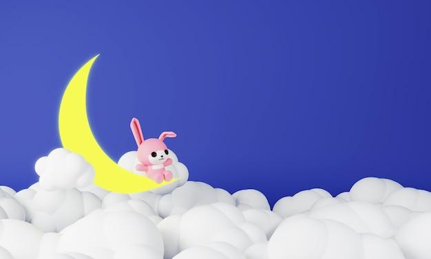 Розовый кролик сидит на луне Premium Фотографии