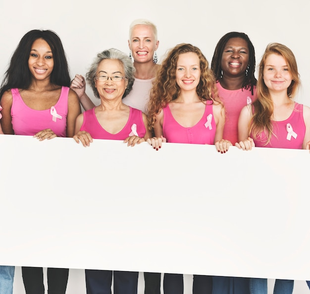 Pink ribbon breast cancer awareness copy space banner concept Premium Photo