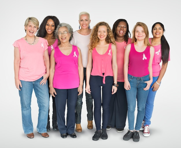 Pink ribbon breast cancer girls feminine copy space banner Premium Photo
