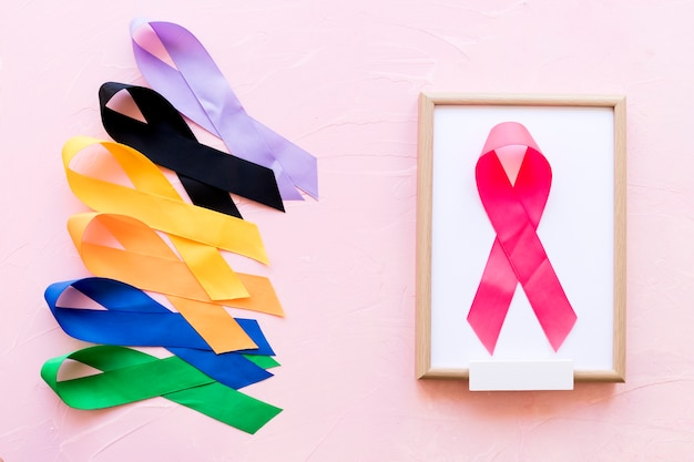Pink ribbon on white wooden frame near the row of colorful awareness ribbon Free Photo