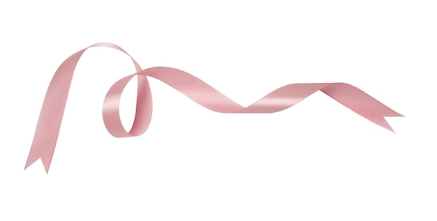 A pink ribbons isolated on a white background with clipping path. Premium Photo