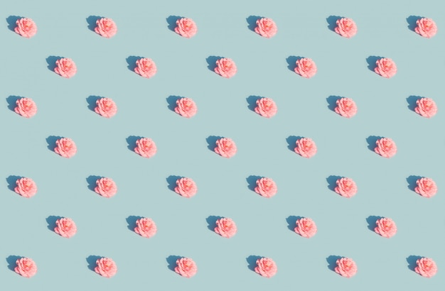 Pink rose on a blue pattern Premium Photo