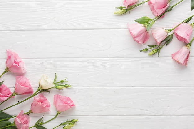 Pink roses on a wooden copy space background Free Photo