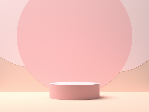 중간에 동그라미 모양으로 분홍색 배경에 분홍색 라운드 무대. 제품 디스플레이를위한 배경. 3d 렌더링 프리미엄 사진