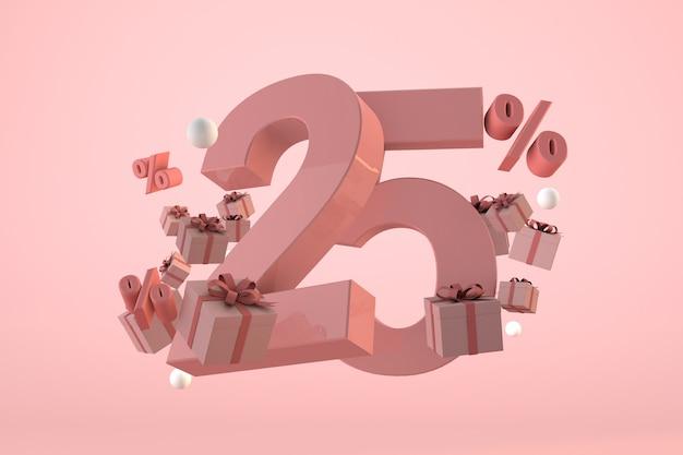 Розовая распродажа со скидкой 25%, акция и празднование с подарочными коробками и процентами. 3d визуализация Premium Фотографии
