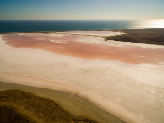 pink salt lake in Crimea Free Photo