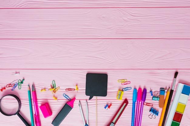Pink school materials Free Photo