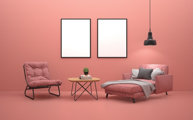 Pink Sofa Bed And Pink Armchair In Living Room With Posters On The