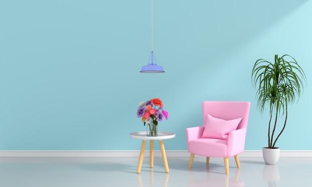 Pink sofa in light blue living room for mockup | Premium Photo