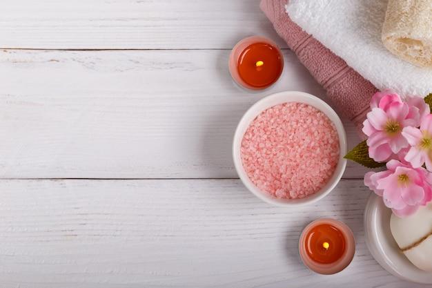 Pink spa setting Premium Photo