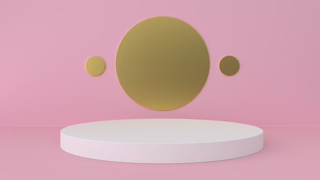 Pink studio and pedestal background. platform for beauty products display. Premium Photo