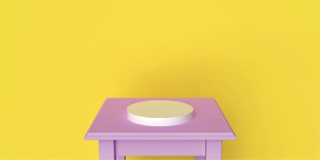 핑크 테이블 Backgraund 연단 원 노란색 Backgraund 제품 Backgraund 부드러운 라이프 스타일 3d 렌더링 프리미엄 사진