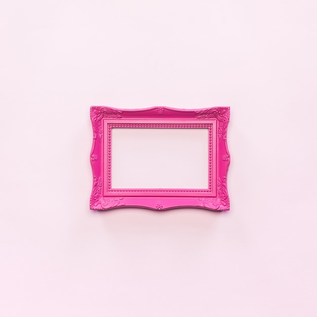 Pink vintage photo frame and empty frame over free photo Free Photo