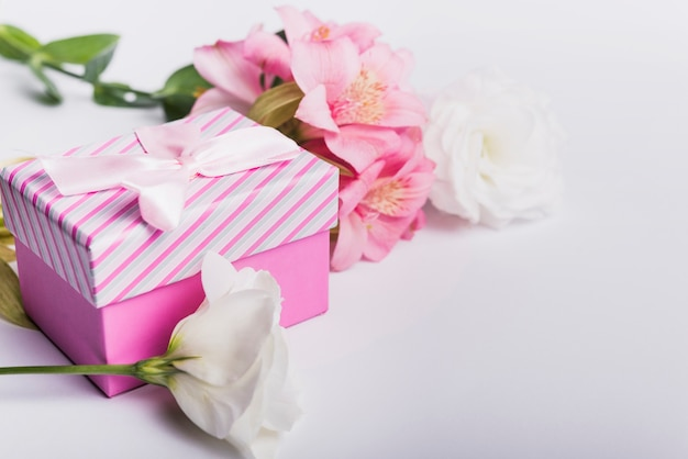 Pink and white flowers with gift box on white backdrop Free Photo