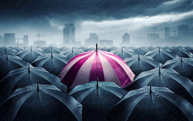 Pink and white umbrella with dark stormy clouds. Premium Photo