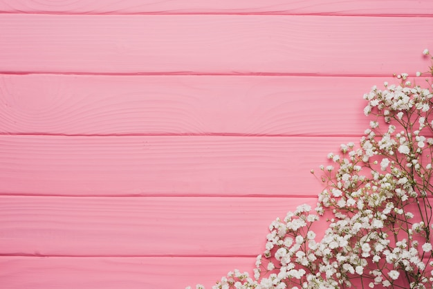 Pink Wooden Background With Floral Decoration Photo