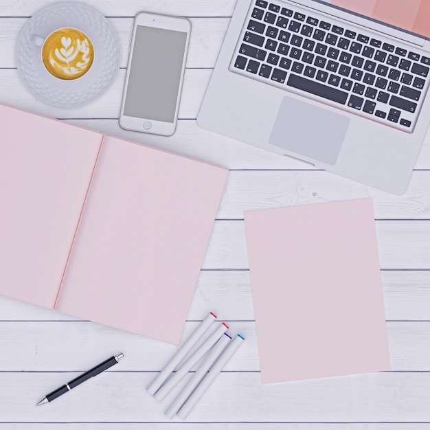 Pink working space with notebook paper  coffee and phone, flat lay Premium Photo