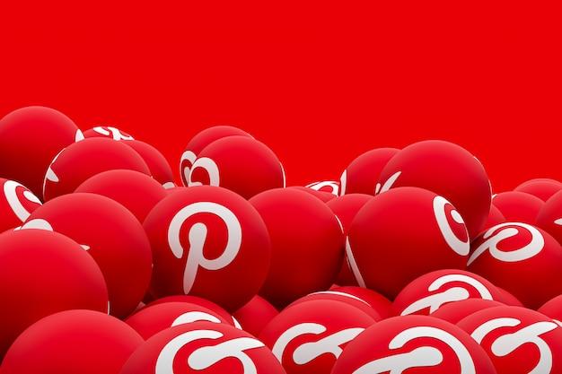 Pinterest логотип смайликов 3d визуализации на прозрачном фоне, символ социальных медиа шар с интересом Premium Фотографии