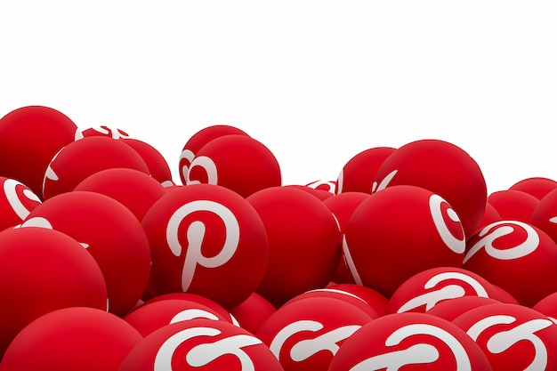 Pinterest logo emoji 3d render on transparent background, social media balloon symbol with pinterest Premium Photo