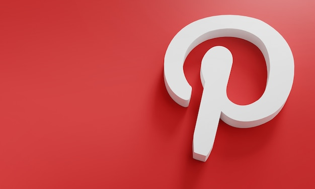 Pinterest логотип минимальный простой дизайн шаблона. копировать космос 3d Premium Фотографии