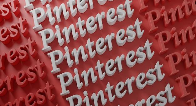 Pinterest типография на красной стене, 3d-рендеринг Premium Фотографии