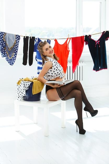 Pinup woman in pantyhose Free Photo