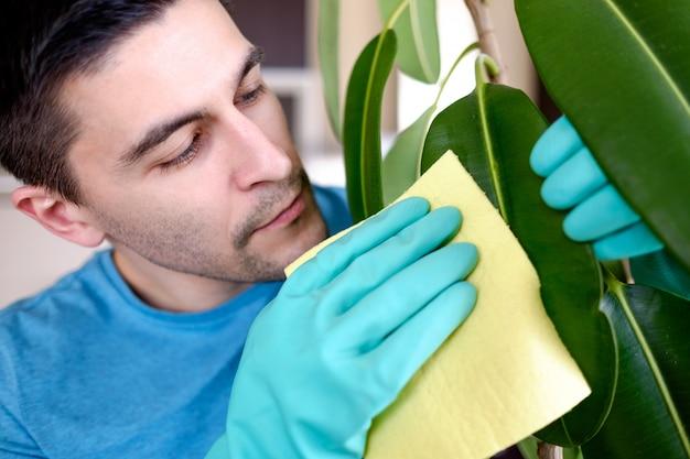 大人の男が台所でpipalをクリーニング Premium写真