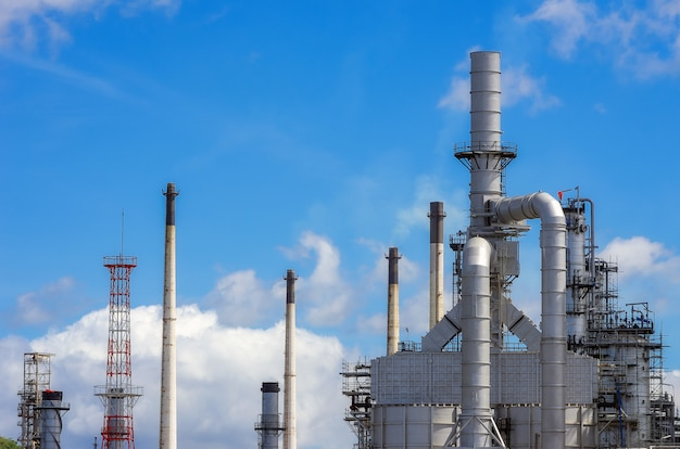 Pipes, chimneys of oil refinery. Premium Photo
