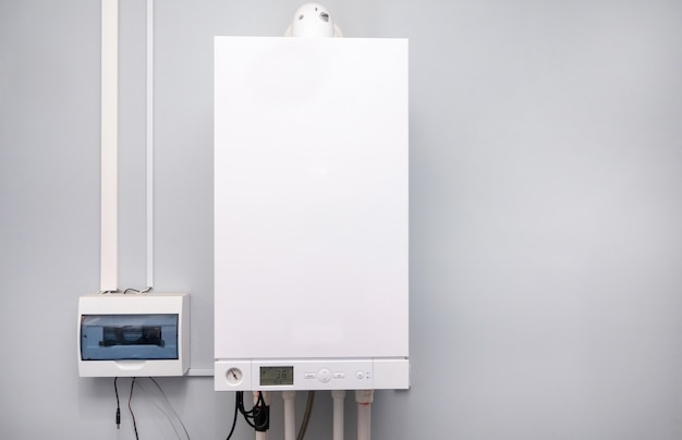 Piping and valving of household central heating system Premium Photo