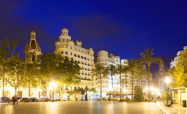 Placa del ajuntament in summer evening. valencia Free Photo