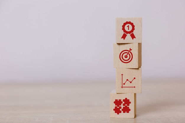 Place vertical wooden blocks service concept of business to success business strategy planning to market victory. Premium Photo