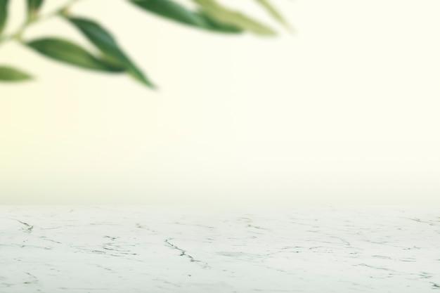 Parete liscia con foglie e pavimento in marmo bianco prodotto Foto Gratuite