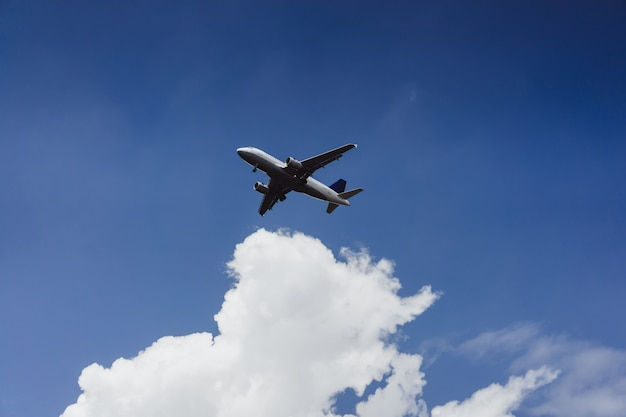 The plane is flying in the blue sky Free Photo