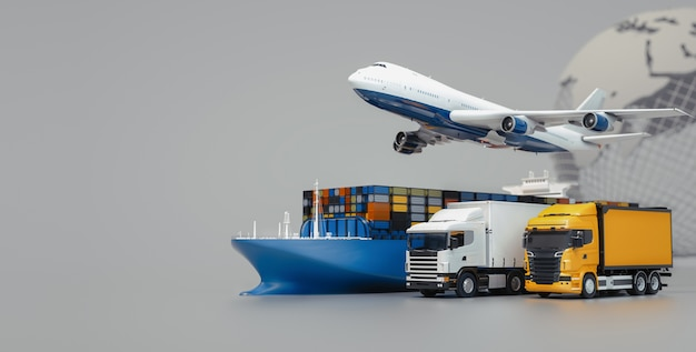 Plane trucks are flying towards the destination with the brightest Premium Photo