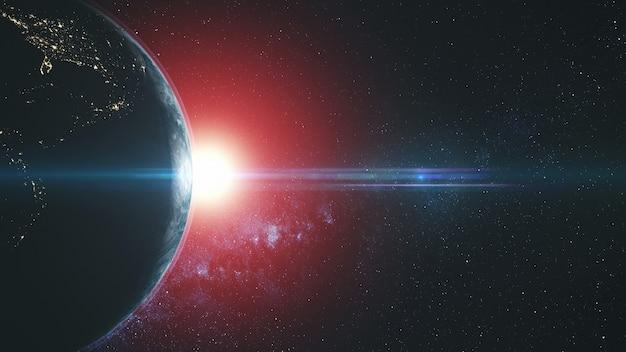 プラネットアースサークルラウンドフレア太陽ビームグロー。星空銀河天体小惑星深宇宙衛星ビュー。宇宙旅行コンセプト3dアニメーション Premium写真