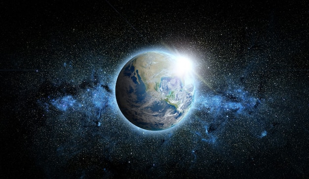 Planet earth with sunrise on space Premium Photo
