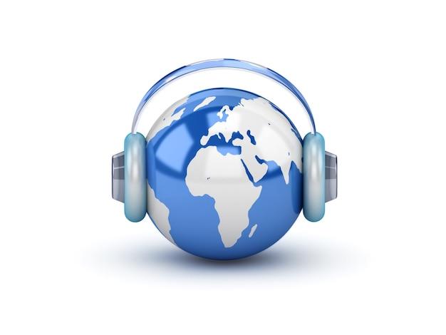 Planet in headphones listening to the music Premium Photo