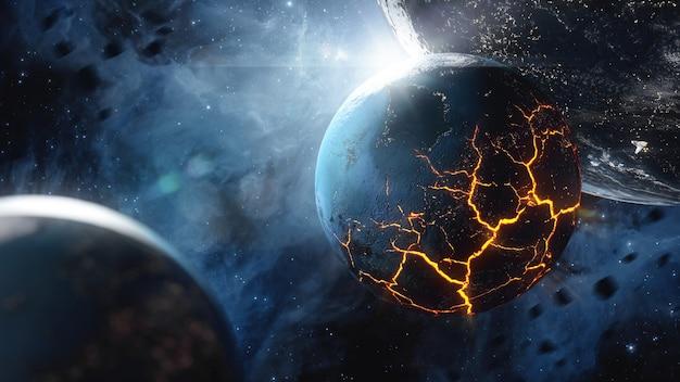 宇宙に溶岩がある巨大な亀裂のある惑星 Premium写真