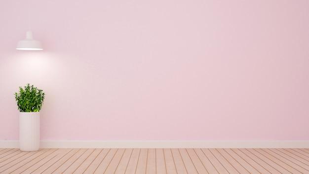 Завод и подвесной светильник в пустой комнате на светло-розовых тонах - 3d ren Premium Фотографии