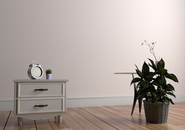 Plant And Vase On Table In Wood Floor On Empty White Wall Background