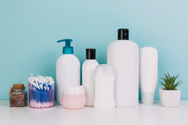 Plant and cotton swabs near cosmetics bottles Free Photo