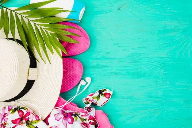 Plant foliage and swimsuit near flip flops and hat Free Photo