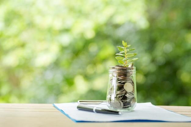 Растениеводство из монет в стеклянной банке на размытой природе Бесплатные Фотографии