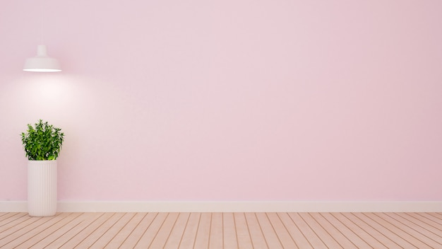 Plant and pendent lamp in empty room on light pink tone - 3d ren Premium Photo