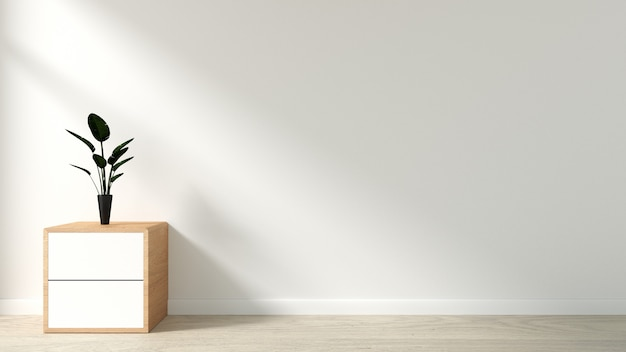 Plants on cabinet in modern empty room japanese style Premium Photo