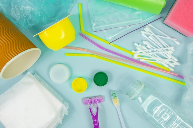 Plastic bottle, hygiene items and plastic package depicting ecological Premium Photo